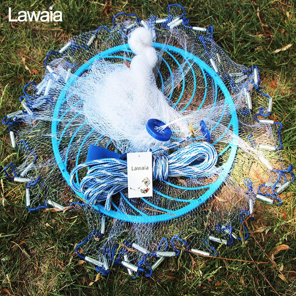 Lawaia tiefe loch cast net Heißer Verkauf durchmesser 2,4-4,8 m Amerikanischen Stil alten salz cast netze Kleine Mesh fischernetz mit Ringe