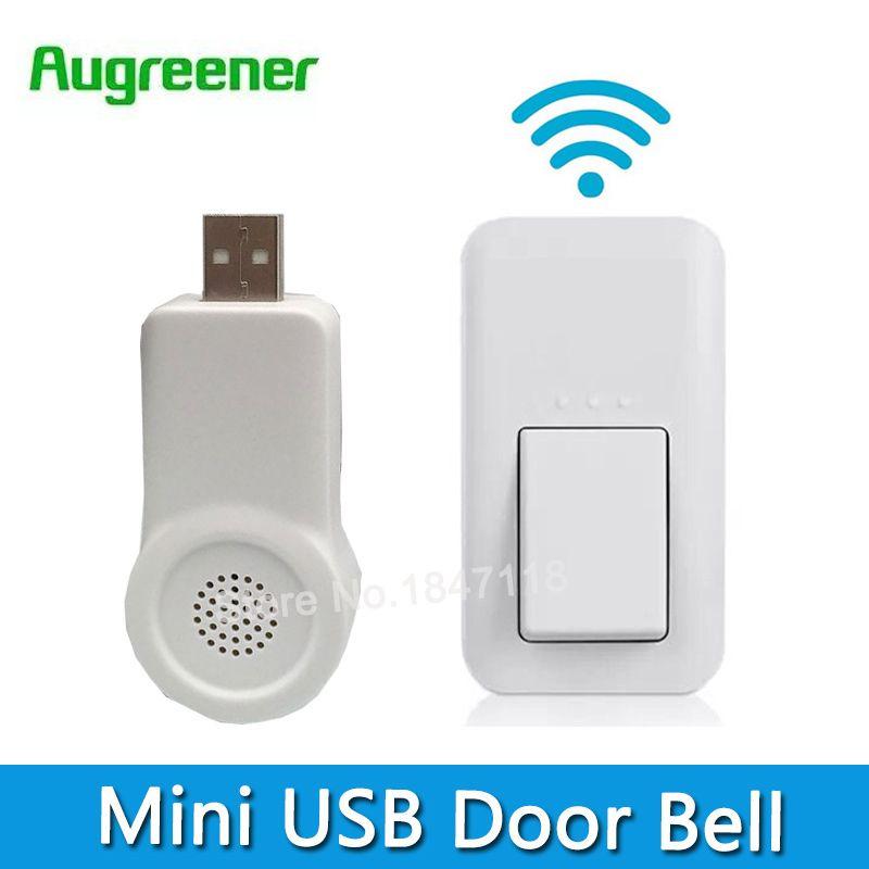 Mini USB pas besoin de batterie sonnette sans fil 433 MHz 38 carillons Doorells étanche porte cloche 220 V avec 1 bouton + 1 récepteur