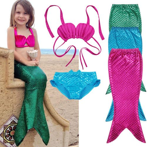 3 PCS Fille Enfants Sirène Queue Baignade Bikini Ensemble Maillot de bain Fantaisie Costume 3-9Y