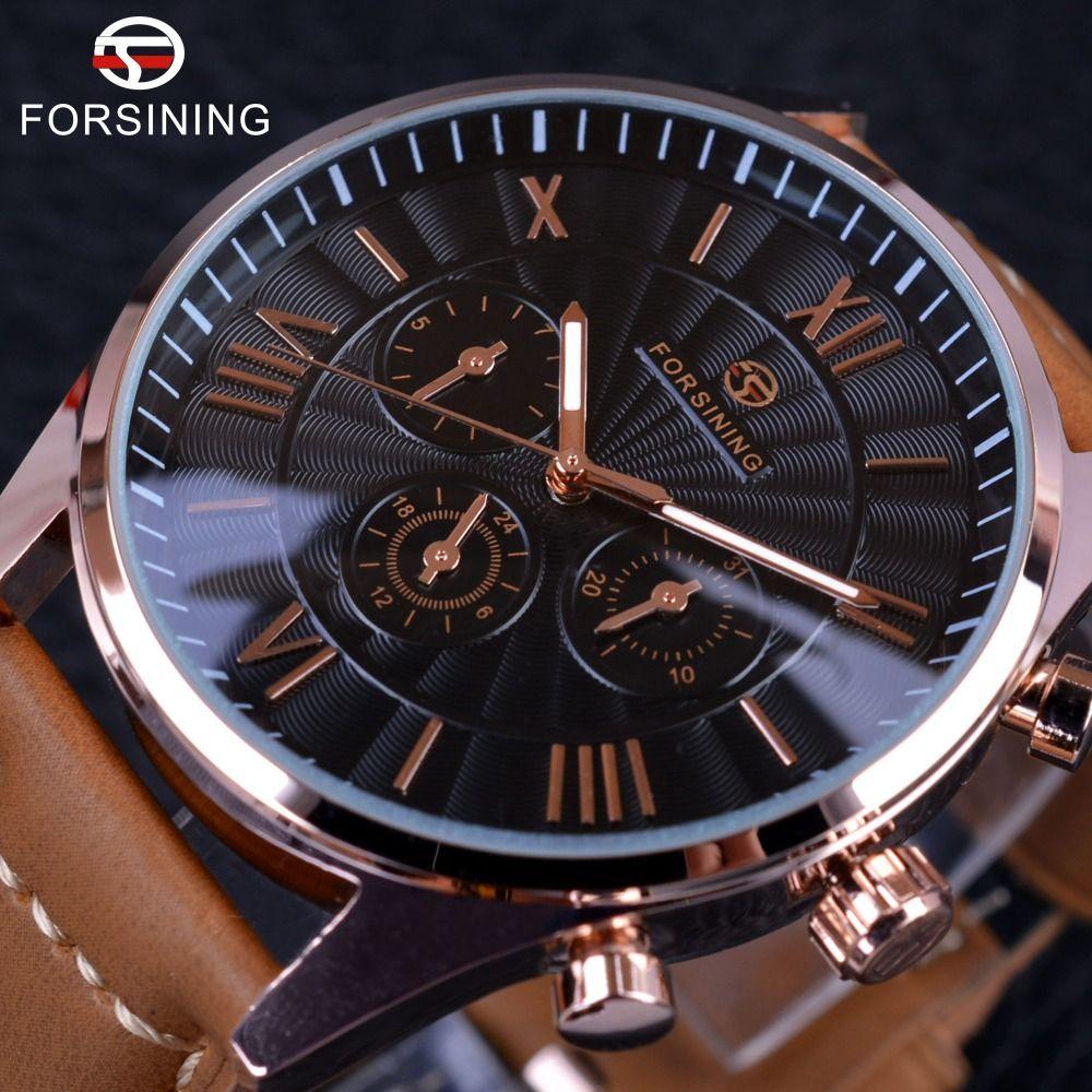 Forsining 2017 Mode-wirbel Zifferblatt-design Brown Echtes Leder-band Herrenuhren Top-marke Luxus 3 Wahlanzeige Automatische Uhr