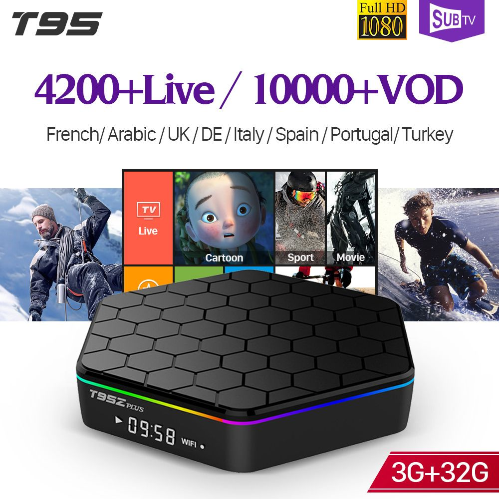 IPTV France T95Z plus S912 3GB 32GB Android 7.1 Smart TV Box 1 an SUBTV IPTV espagne belgique albanie arabe France IPTV Box