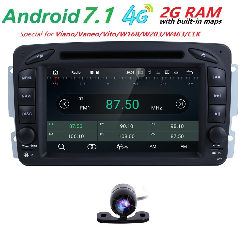 Android7.1 CarDVD Radio Player GPS Wifi for Mercedes/Benz W203 Viano Vito W639 W638 W168 W210 C180 C200 C220 C230 C240 C270 C320