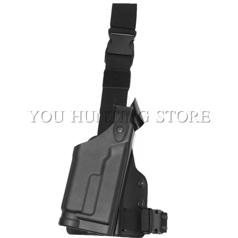 Tactical Drop Leg Holster for HK USP Compact Airsoft Thigh Holster with Flashlight Black Hunting Gun Paddle