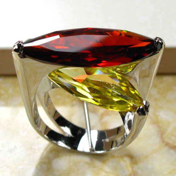 Bague en argent Sterling 925 Zircon cristal jaune grenat taille 6 7 8 9 10 R95