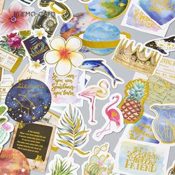 Hot Stamping Sticker For Trunk Laptop 8 Designs Retro Stuff Flamingo Theme Golden Deco Bullet Jornal Stickers Scrapbooking Diary