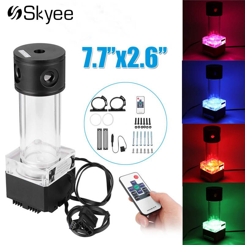 RGB Computer Cooling Pump Water Liquid Cooling Tank Acrylic Aluminum Remote Controll Water Cooler Tank For PC CPU Cooling System
