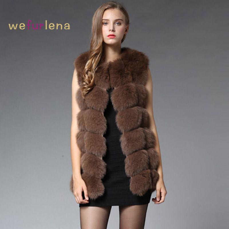 70 см Натуральный мех жилет 2017 зимние толстые серебро Мех животных пальто Куртки для Для женщин без рукавов средней длины из натуральной Мех ...