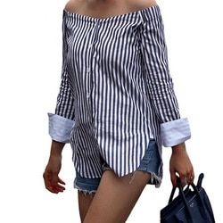 Fashion Autumn Women Sexy Tops Off Shoulder Long Sleeve Vertical Stripe Shirt Vintage Ladies Girls Loose Casual Blouse H