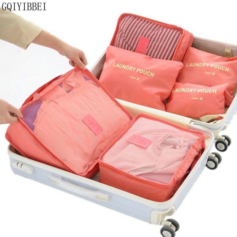 6 pièces sac de rangement pour la maison organisation emballage Polyester Cube voyage sacs vêtements ranger poche valise placard diviseur tiroir Portable
