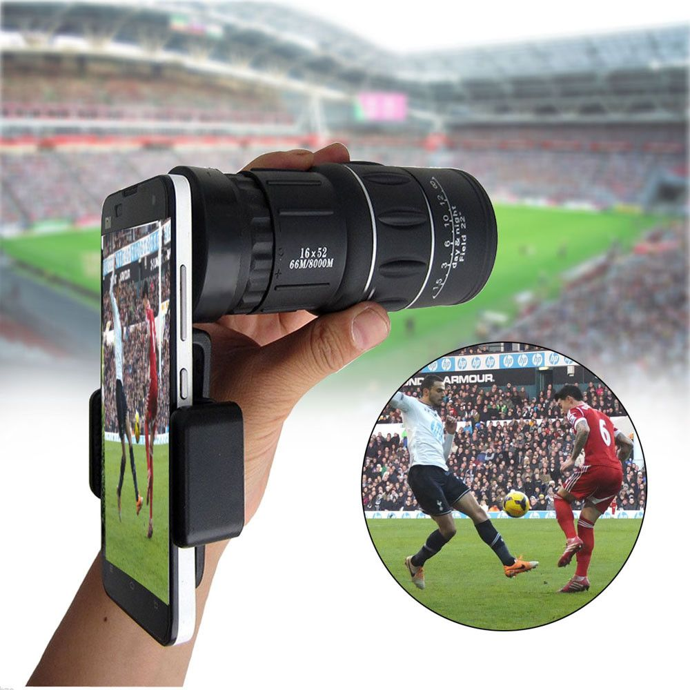 16x52 Zoom Mobile Phone Lenses Universal Phone Telescope Clip Lens Camera Lens Monocular Telescope for iPhone Samsung