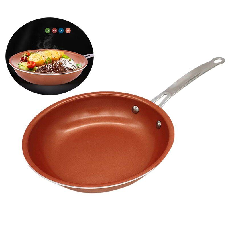 9.4 Inch Non-stick Frying Pan Copper Style Aluminium Alloy Pans Dishwasher Oven Safe Cookware Russia Shipping FP8 JY03