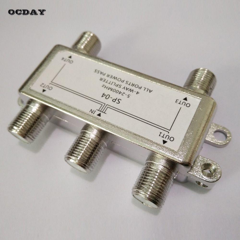 OCDAY 4 Way Satelliten/Antenne/Kabel-tv Splitter Verteiler 5-2400 MHz F Typ Großhandel Auf Lager!!!