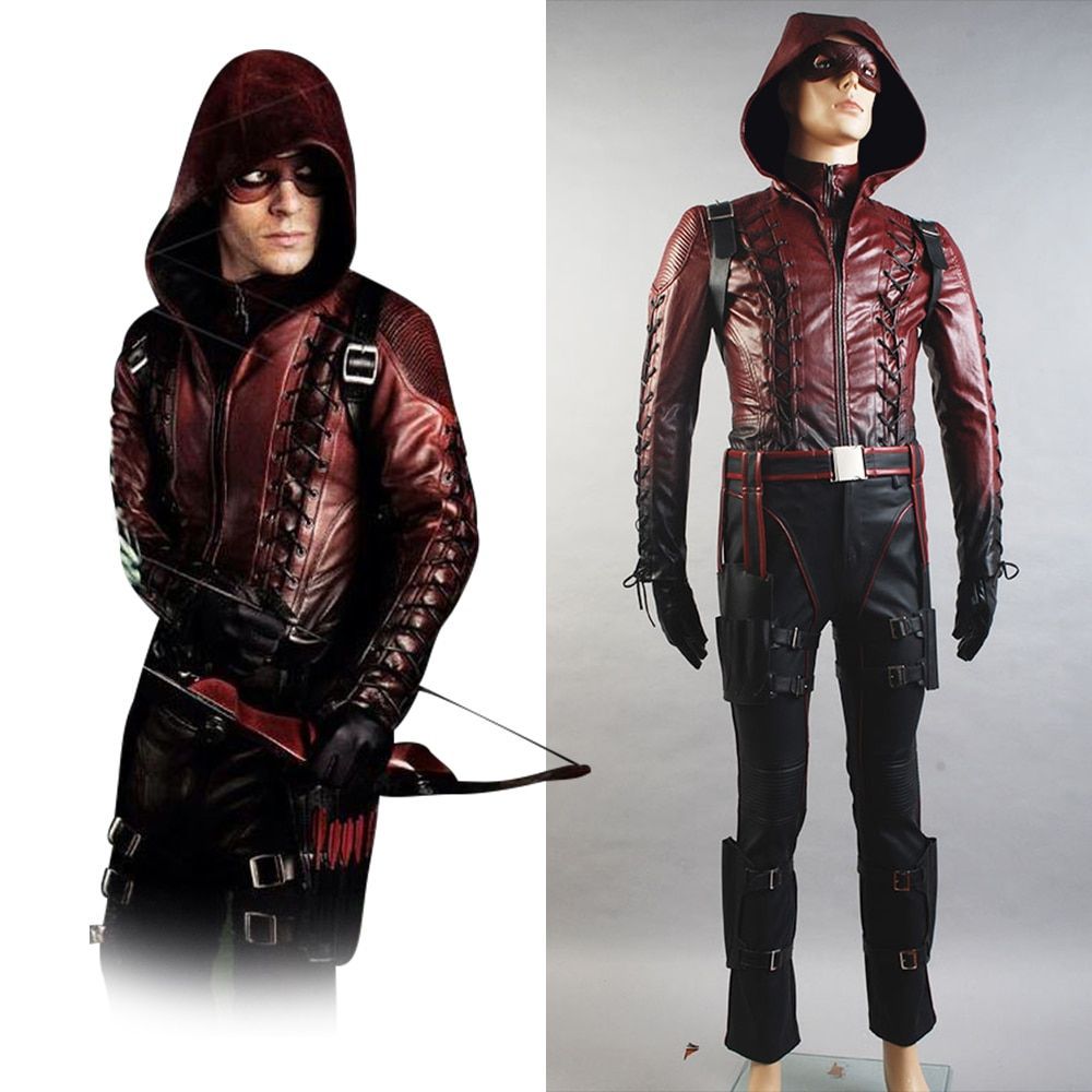 Green Arrow Season 3 Cosplay Costume Red Arrow Roy Harper Arsenal Adult Men Red Leather Cosplay Costume Suit Mask Halloween