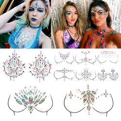 Shellhard 12 estilos adhesivo pegajoso gemas pegatina maquillaje cara Boob joya de cristal Festival gemas partido maquillaje pegatinas para el arte de cuerpo