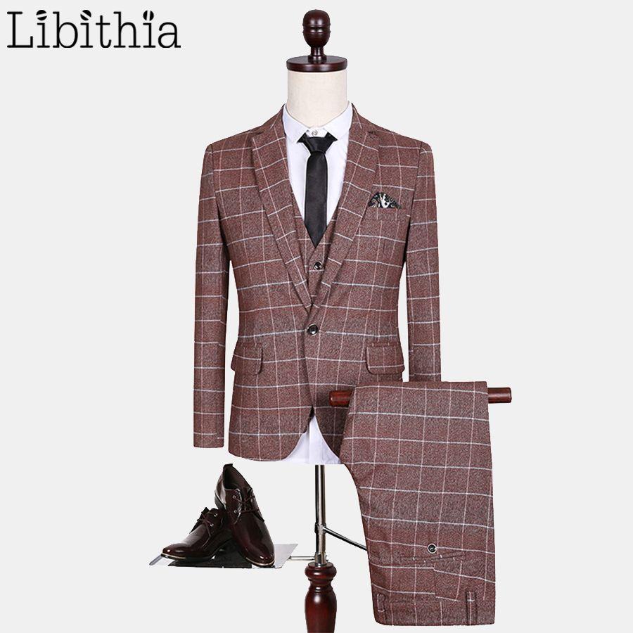 (Jacket+Pant+Vest) New Arrivals Suits Men Red plaid Fashion Brand Formal Blazer Costume Homme Wedding Dress Big Size M-5XL S152