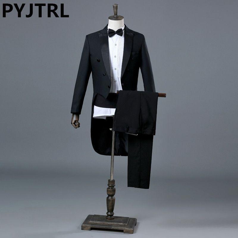 PYJTRL angleterre Gentleman deux pièces noir blanc marié pas cher mariage Tuxedos costumes pour hommes classique queue manteau avec pantalon Slim Fit