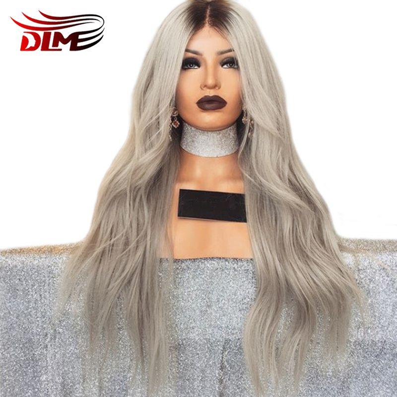 DLME Synthétique Gris Dentelle Avant Perruque Avec Bébé Cheveux Résistant À La Chaleur Perruque 180% Densité 26 Pouces Longue Ombre Perruques Pour femmes noires
