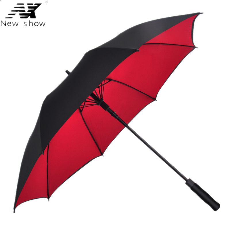 NX Double layer long golf umbrella man women's <font><b>rain</b></font> Semi automatic double layer windproof umbrella Custom logo wholesale