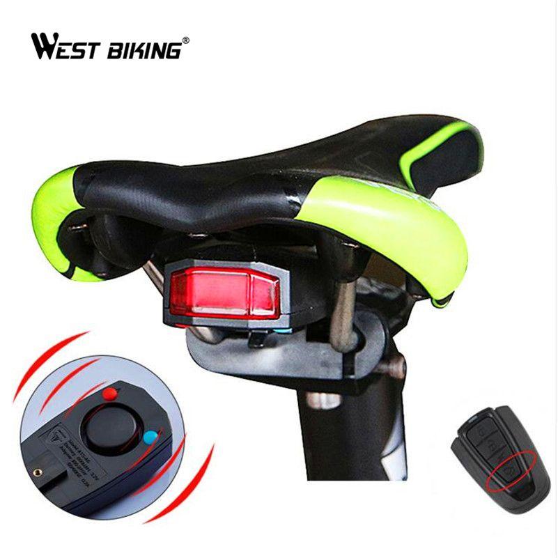 WEST BIKING Waterproof Anti-theft Alarm Bike Light Saddle Taillight Warning Flashlight Cycling Rear Lamp Antitheft Bicycle Light