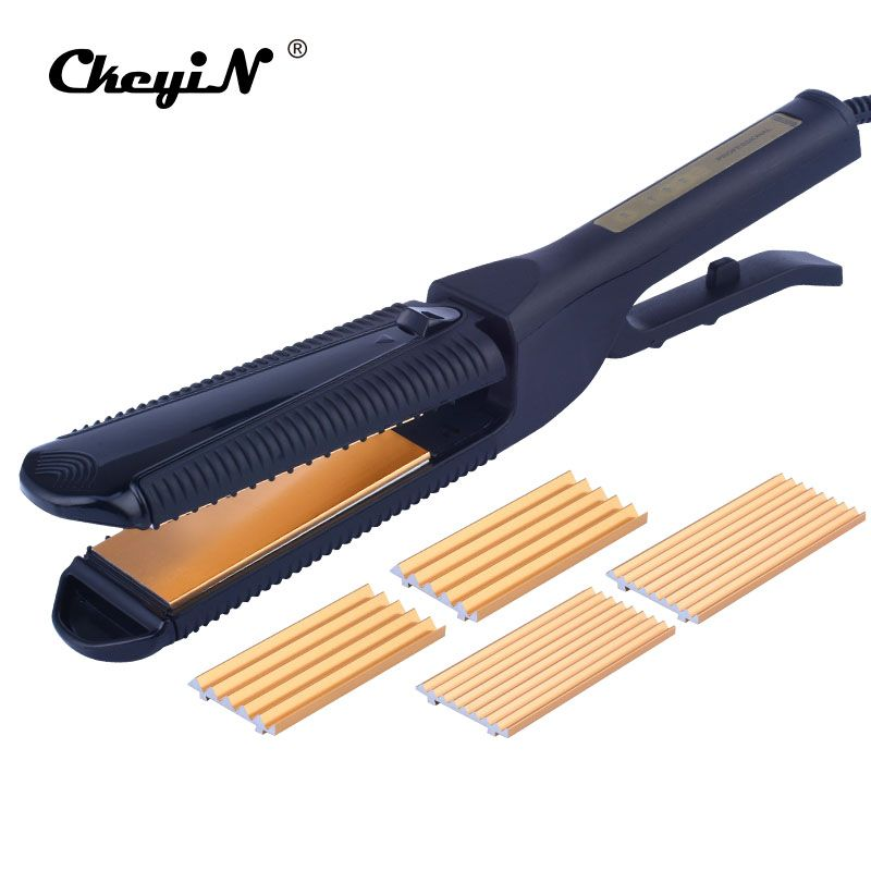 3 in1 Corrugated Hair straightening Iron Styling Tools Hair Crimper Curlers Professional Curling Iron Hair Corn Wave chapinha