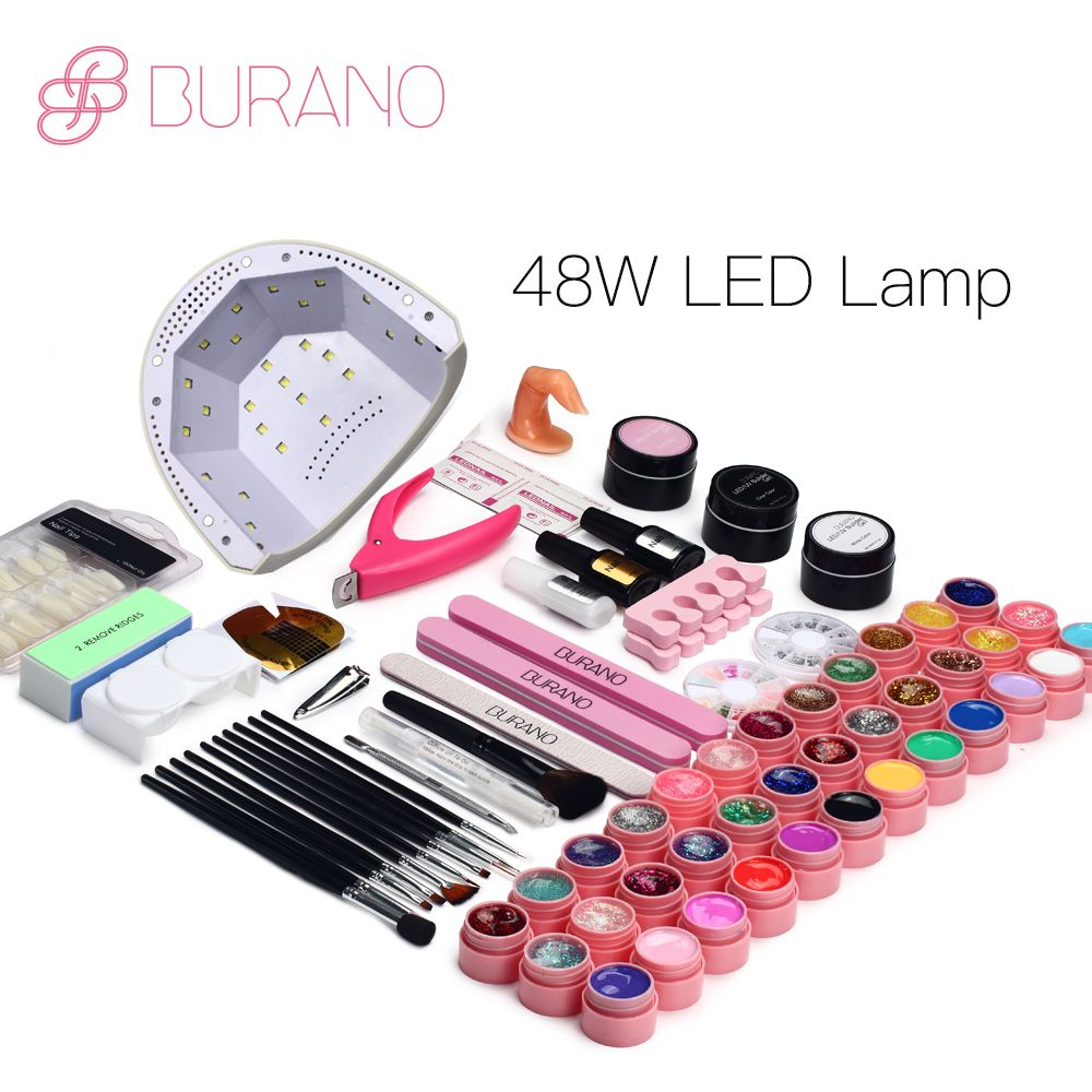 BURANO 48W UV LED Nail lamp 25 LEDs Nail dryer & 36 colors uv gel Nail polish Art Tools nail Set Kit base gel top coat building