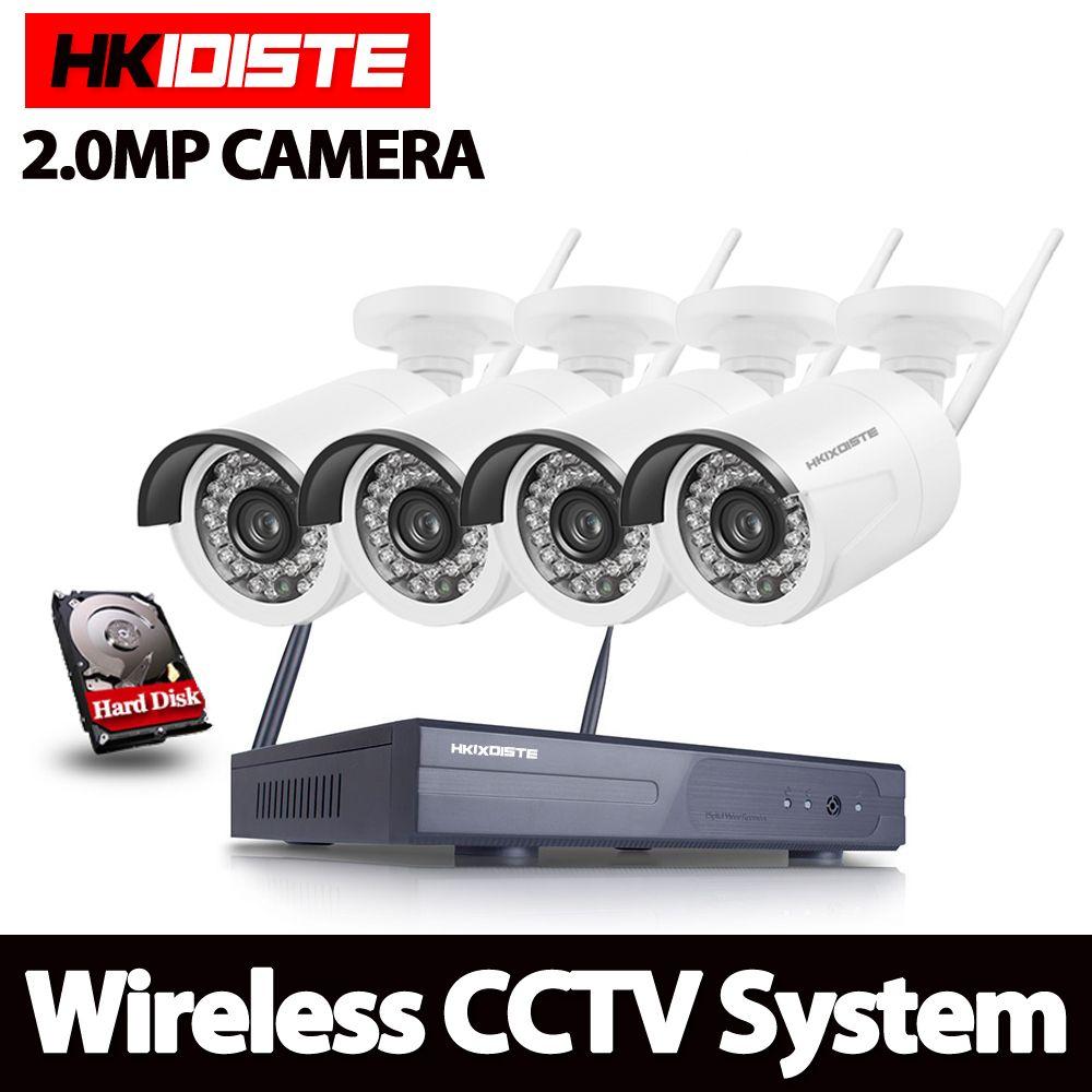 1080P Wireless CCTV System 2MP 4ch HD wi-fi NVR kit Outdoor IR Night Vision IP Wifi Camera Security System Surveillance Set