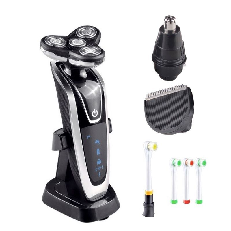 4 in 1 Men's Grooming Set 4D Rotary 4 Blade Electric Shavers with Beard Trimmer /Hair Clippers /Nose Trimmer/Electric Toothbrush