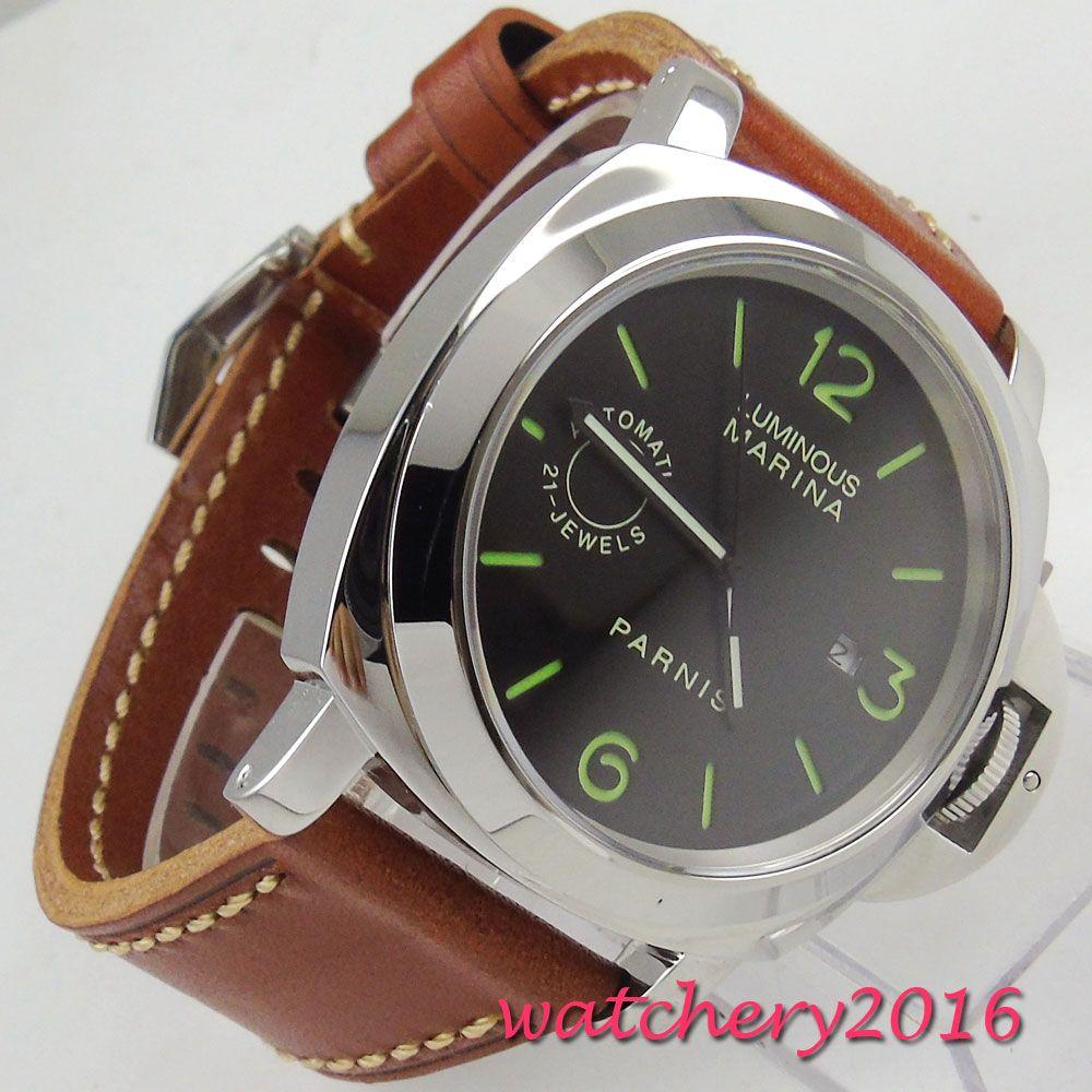 Luxury Brand parnis Commander Series Luminous men's Steel Case Leather Watchband Automatic Self-Wind Mechanical Watch Wristwatch