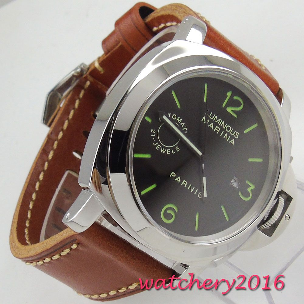 Luxus Marke parnis Kommandant Serie Leucht männer Stahl Fall Lederband Automatische Selbst Wind Mechanische Uhr Armbanduhr