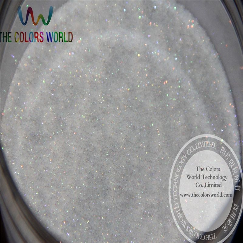 No.22 wholesale 0.1mm 004 Iridescent white with colorful light Color Glitter Powder for nail,tatto art decoration DIY powder