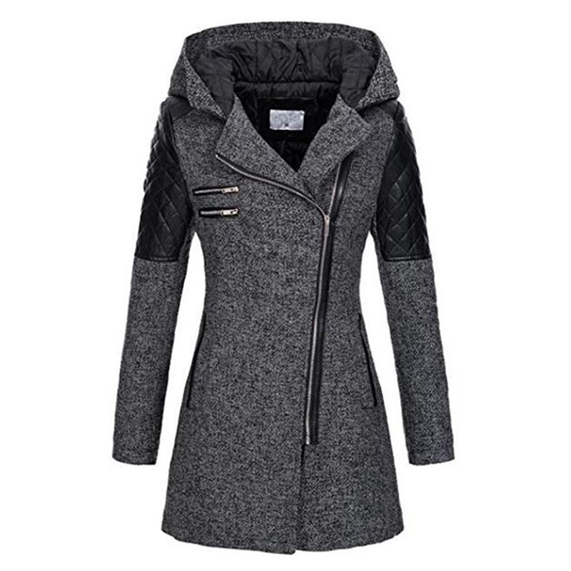 Winter Gothic Hooded Coats Zipper Slim Outerwear Zippers Fashion Patchwork Black Female Warm Windproof Autumn Overcoats Fall