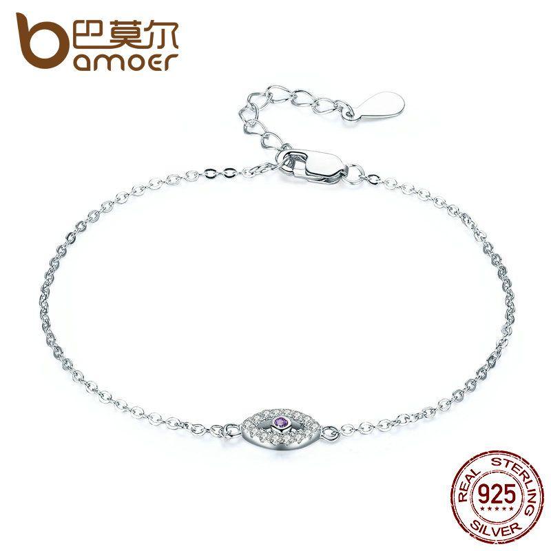 BAMOER Authentic 925 Sterling Silver Eyes Bracelet Purple Clear Cubic Zircon Adjustable Link Chain Bracelets Jewelry SCB003