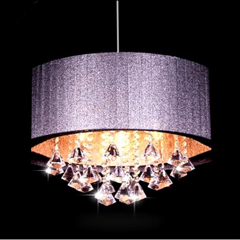 Lustre ovale moderne salon salle d'étude led lustre lumière tissu brossé abat-jour k9 cristal luminaria livraison gratuite