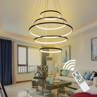 Negro/blanco Color moderno colgante luces para sala comedor/4/3/2/1 Círculo anillos acrílico cuerpo de aluminio LED lámpara de techo