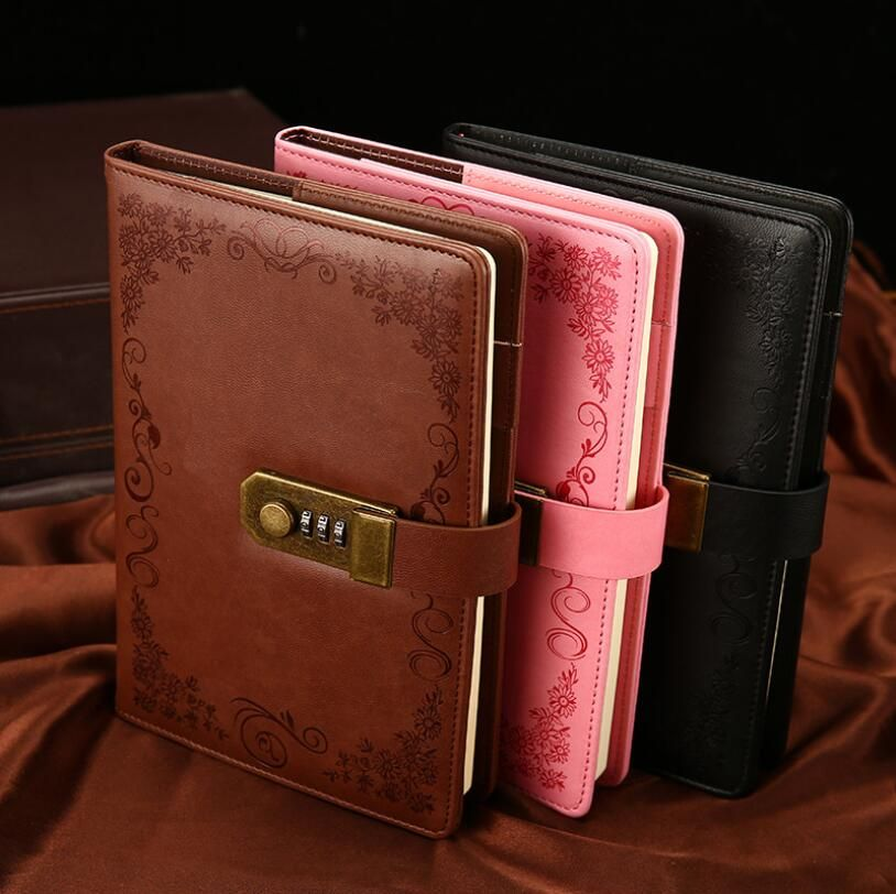 Vintage Lockable A5 Notebook Paper PU Leather Note Book Diary With Lock Traveler Journal Weekly Planner School Stationery Gift