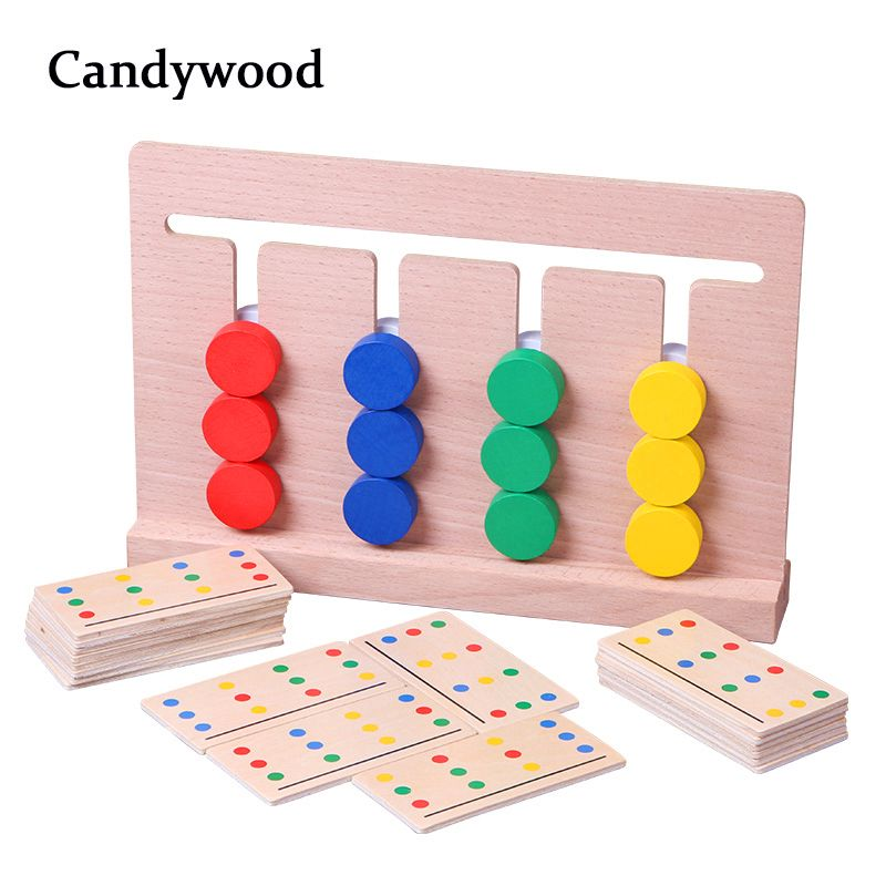 Montessori Wooden Four Colors Matching Game Logical Reasoning Training Kids Early Educational Toys Baby Children Learning Toys