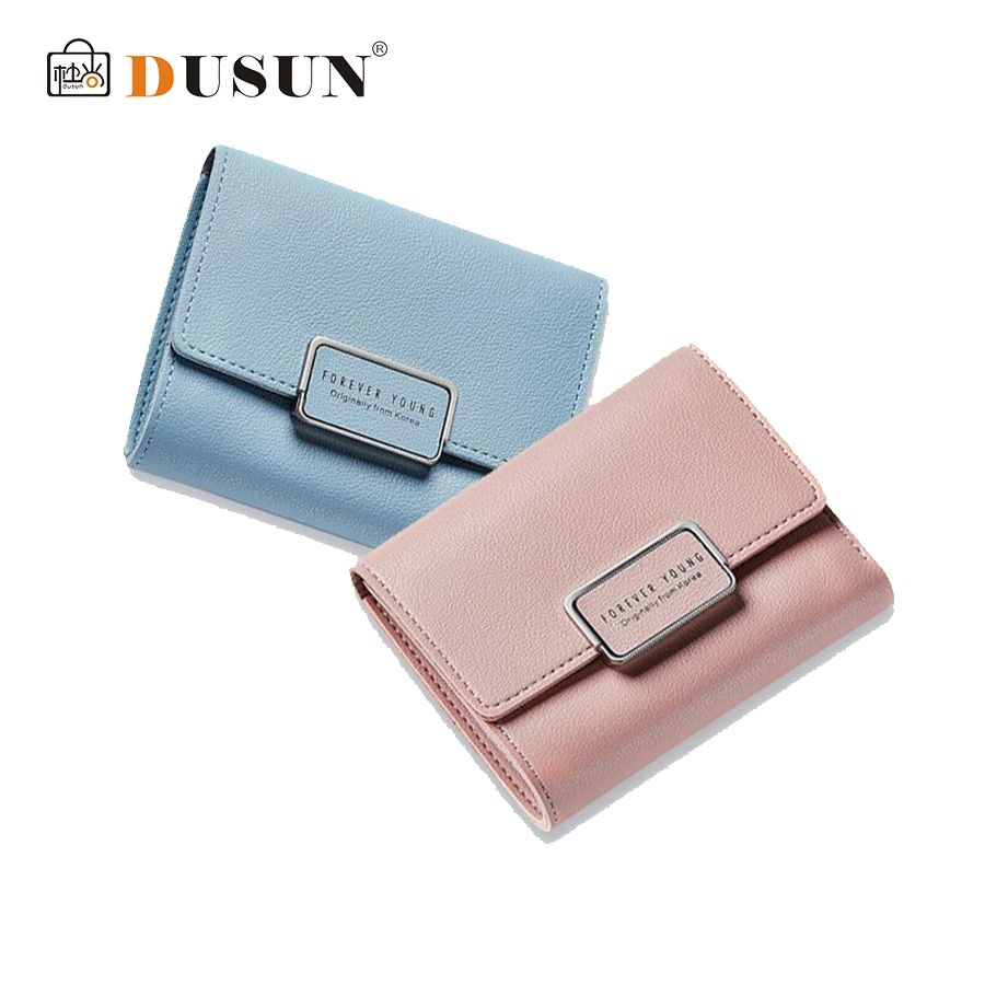 DUSUN New Lady Wallet Vintage Hasp Short Coin Purse Multi Card Photo Holder Wallet High Quality Cartoon Printing 12Colors Style