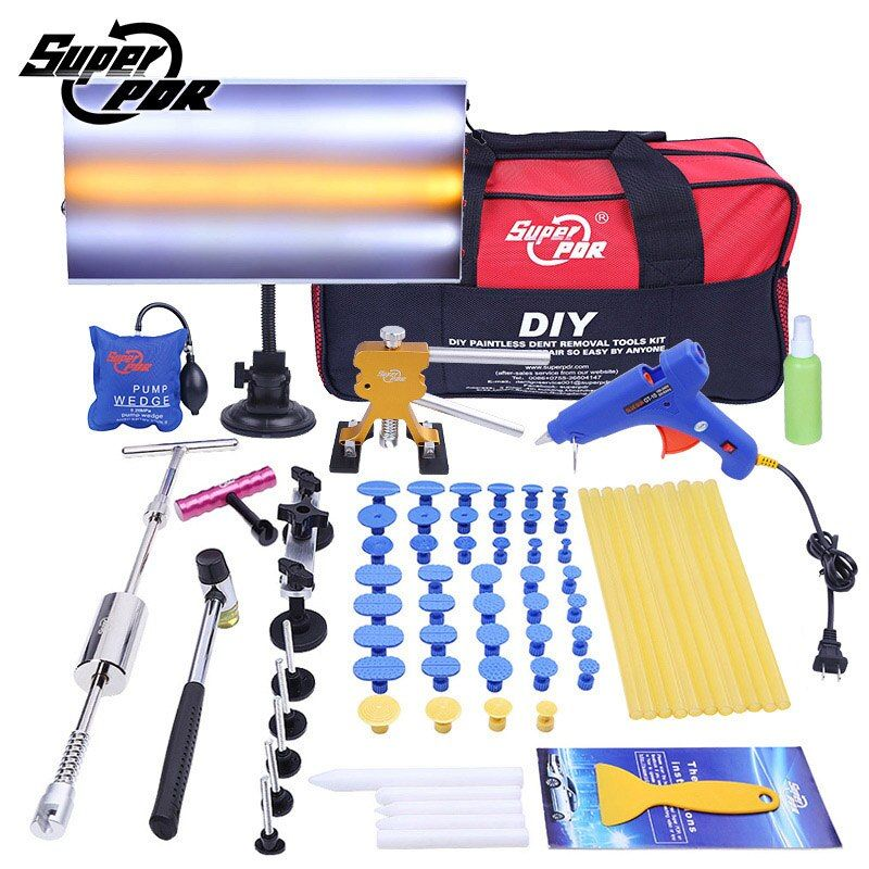 PDR tools Dent Removal Tool set Slide Hammer Aluminum lamp board Dent Puller glue gun 69pcs auto body dent repair tool kit