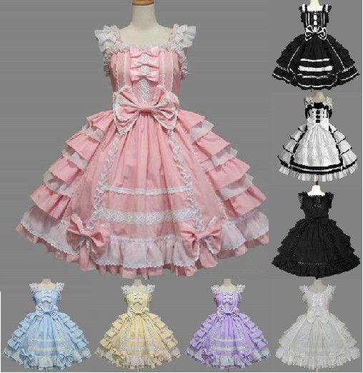 Classique Lolita Robe Couches de Femmes Cosplay Costume Coton JSK Robe pour Fille 10 Couleurs