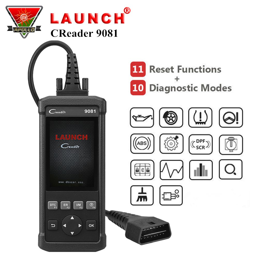 Launch CReader 9081 OBD2 Diagnostic Scan Code Reader Tool CR9081 DIY Full OBD Scanner with Oil/EPB/BMS/SAS/DPF Reset Function