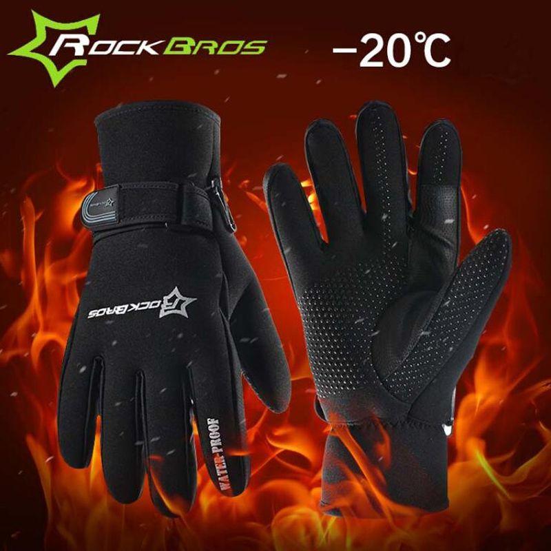ROCKBROS Super Warme Winter Radfahren Handschuhe herren Volle Finger Thermische Fleece Baumwolle Bike Fahrrad Sport Handschuhe Fahrrad Zubehör