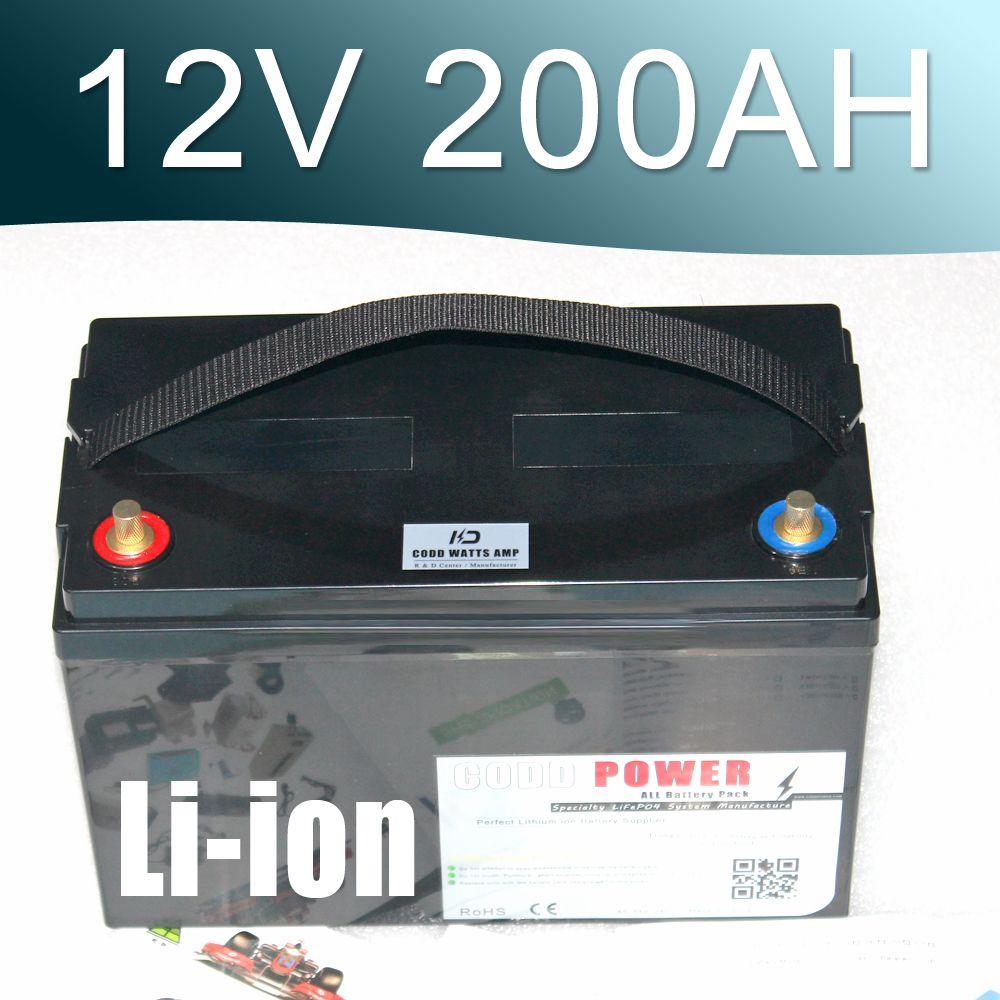 12,6 V 200AH Lithium-ionen-batterie 12 V Li-Ion Wasserdicht IP68 Box für UPS solarenergie Golf Auto