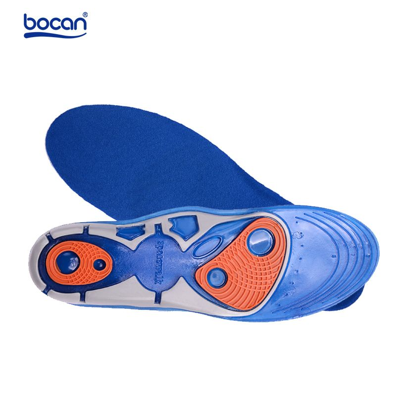 Bocan Silicon Gel Insoles High Quality Foot <font><b>Care</b></font> for Plantar Fasciitis Heel Spur Running Sport Insoles Shock Absorption Pads