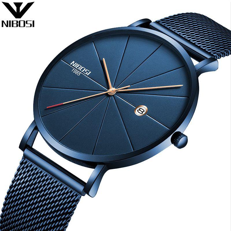 NIBOSI Luxury Watches Men Blue Stainless Steel Ultra Thin Watches Men Classic Quartz Date Men's Wrist Watch Relogio Masculino