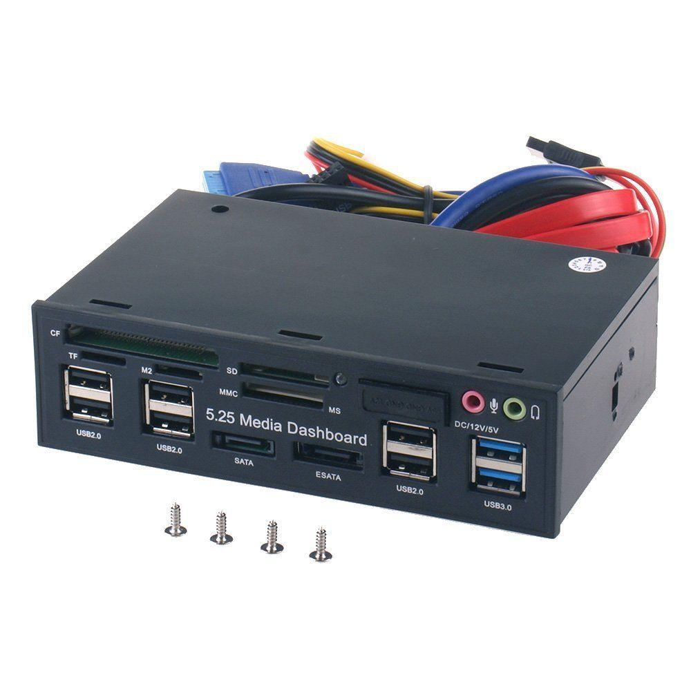 5.25 Inch PC Media Dashboard Front Panel Audio With SATA eSATA 2 x USB 3.0 And 6 x USB 2.0 Hub SD TF MMC M2 CF MS Card Reader