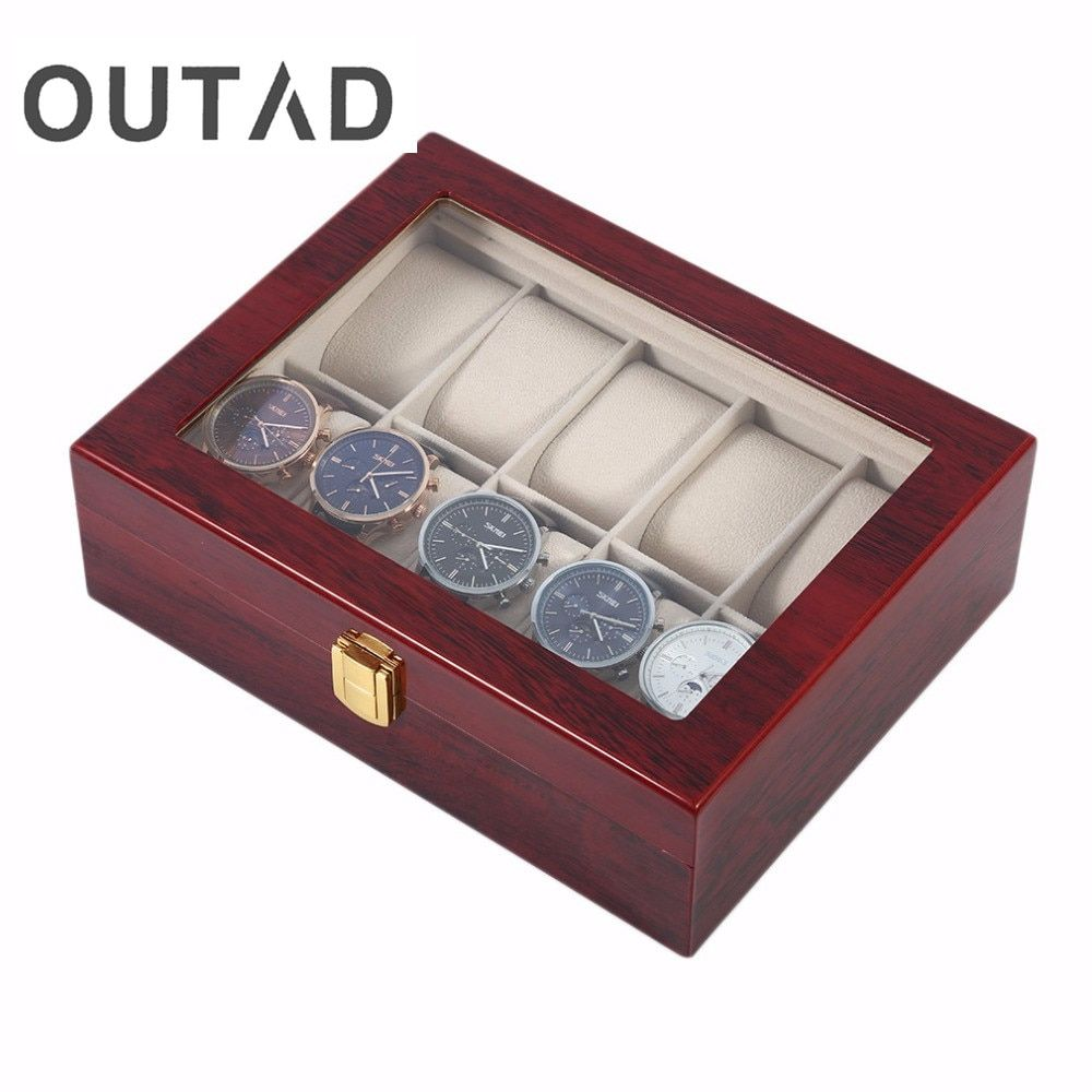 OUTAD Wooden Watch Box Luxury Solid Wood 10 Grid Storage Cases Display Watches Perfect Gift Boxes Winder Organizer boite montre