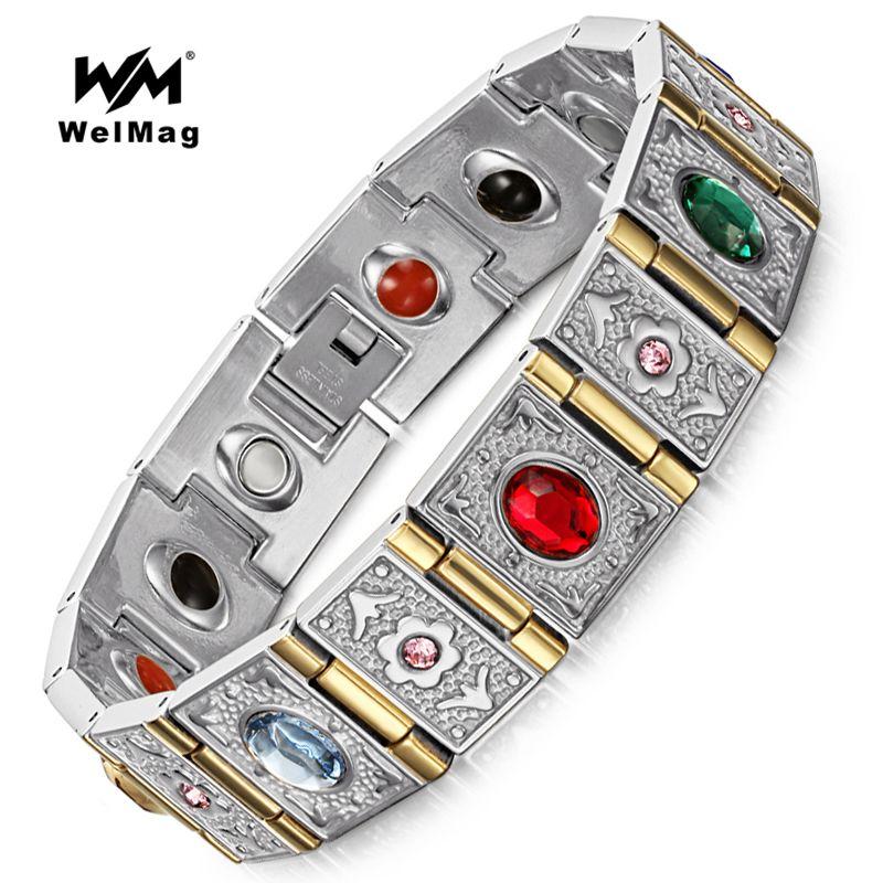 WelMag Mode bracelet germanium & Bracelets acier inoxydable Hommes de bracelet magnétique Magnétothérapie Bijoux ions Négatifs Bracelets