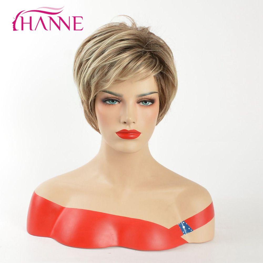 HANNE Mix Brown Et Blonde 613 Haute Température Cheveux Synthétiques Perruques Résistant À La Chaleur Naturelle Vague Afro-Américain À Court Perruque