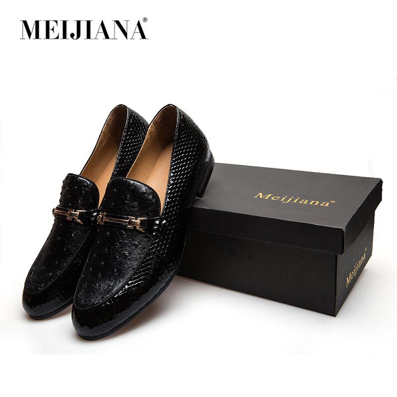 MeiJiaNa Men Shoes Brand Casual Leather Black Men Shoes Luxury Brand Loafers