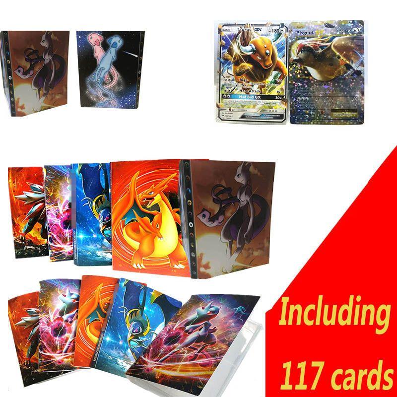 112 карт Ёмкость держателя карты связующих Альбомы для покемон игры карты Книга Рукава держателей. В том числе 117 карт
